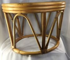 "Vintage Mid Century Modern Bamboo Rattan Tiki Style Round Table 19x13"""