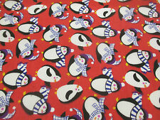 Rojo Pingüino, pingüinos Navidad Tejido Estampado De Polialgodón