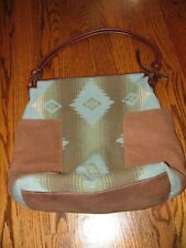 PENDLETON PURSE Southwest Style Teal/Brown Leather/Fabric NICE