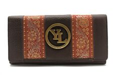 Women Cow Leather Clutch Wallet YL 21 Black,Brown,Purple Embroidery Lace Purse