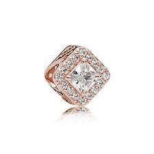 1pcs Rose Gold Plated Square Opals Charm Bead Fit European Bracelet