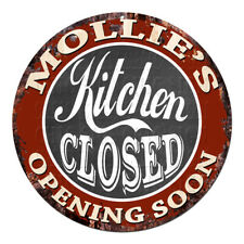 CWKC-0601 MOLLIE'S KITCHEN CLOSED Chic Tin Sign Decor Mother's day Gift