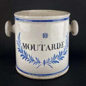 Pot ou seau à moutarde à anses en faïence XVIIIe - XIXe - Antique mustard pot
