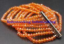 3x4mm Beautiful Orange AB Crystal Gemstone Faceted Beads 7 Row Bracelet 7.5''