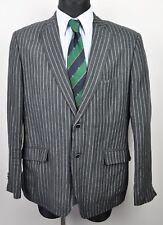 BIAGGINI Pinstriped Linen Blazer UK 42 Men's Grey Suit Jacket EUR 52 Gr Jacke
