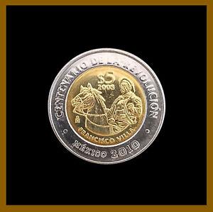 Mexico 5 Pesos Coin, 2010 Bimetallic Centenary of Revolution Pancho Villa Horse