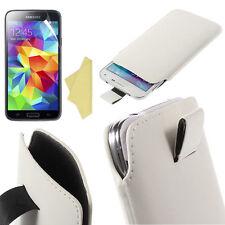 2xPellicole + Custodia Pull Tab SACCHETTO per Samsung Galaxy S5 Mini G800 Bianco