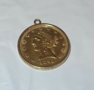 Estate Dated 1892 $5 US Liberty Head Half Eagle Gold Coin Ribbed Bezel