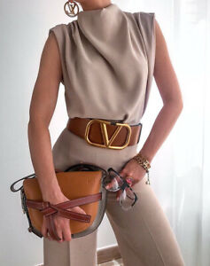 Zara Beige Pleated High Neck Top Shirt Size XS