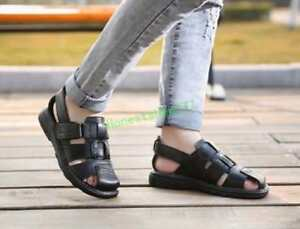 2018 Mens leather casual flat comfort sandals sport beach summer open toe shoes#