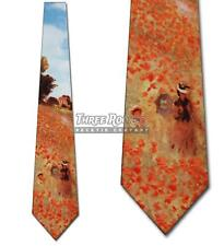 Field of Poppies Necktie Monet Ties Mens Art Neck Tie Brand New