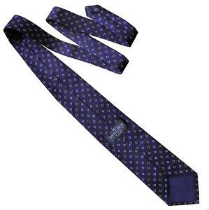 SAVILE ROW LONDON Mens Classic Floral Silk Necktie Tie Navy Blue White - RRP £50