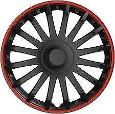 """15"""" 15 INCH CAR VAN WHEEL TRIMS HUB CAPS COVERS & FIXING RINGS BLACK & RED TRIM"""