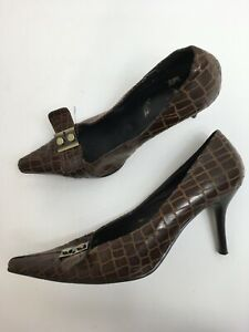 WOMENS CLARKS BROWN LEATHER ANIMAL EFFECT SLIP ON HIGH HEEL POINTED SHOES UK 6