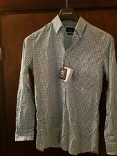 Hackett Multi Check Slim Fit Shirt - Turquoise & White BNWT Size S RRP £85
