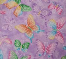 "1 yd 22"" Fabric Traditions Fabric Glittery Lavender Pink Aqua Purple Butterflies"