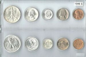 1946-S US Mint set - 5 Choice Brilliant Uncirculated coins in a Whitman holder