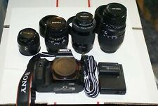 Sony Alpha SLT-A65V 4 nice lenses, 32GB SD, Sony battery, Sony charger, More.