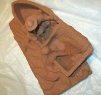 Vtg Handcrafted Clay Folk Outsider Art Fisherman and Mermaid Signed 13 X 7 X 5