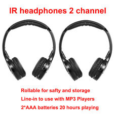 2pc Wireless Channel IR Fold Flat Headphones Headset with DVD Remote TV Rear