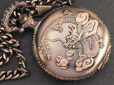 Chinese Antique Dynasty Dragon Pocket Watch Antique Style Copper Case WTP2003