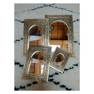 Set of 4 Moroccan brass mirrors ,handmade carved brass mirrors, wall mirrors