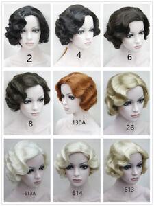 12 Colors Women's Wig Ladies Short Finger Wave Ladies Daily Hair Wigs+Wig Cap