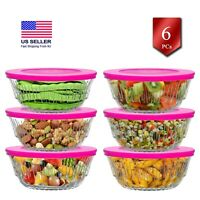 Crystal Glass Food Storage Containers Set of 6, Condiment Serving Bowls,11.7 oz