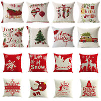 """18"""" Merry Christmas Pillow Case Cotton Linen Sofa Throw Cushion Cover Home Decor"""