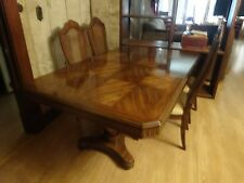 Mahogany Solid Wood Dining Table Seats 8 w 2 leaves n protective Cover n chairs