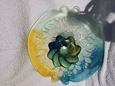 Large glass floral multicolour yellow blue embossed stand / platter Verlys style