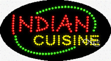 """New """"Indian Cuisine"""" 27x15 Oval Solid/Animated Led Sign w/Custom Options 24529"""