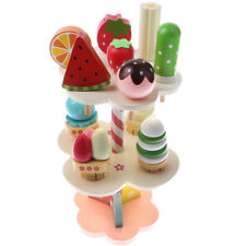 Wooden 3-layer Strawberry Ice Cream Lolly Stand Kids Kitchen Food Role Play