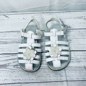 Carter's Babies White Leather Floral Hook And Loop Fishermen Sandals Size 9