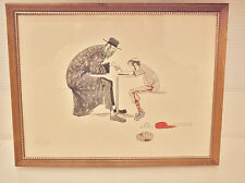 Original Drawing ''HOMEWORK'' Signed by the American Artist  J. HERR