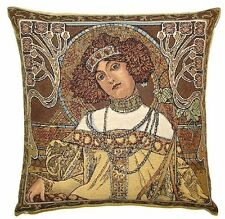 "NEW ALPHONSE MUCHA ""AUTUMN / AUTOMNE"" 18"" BELGIAN TAPESTRY CUSHION COVER C793"