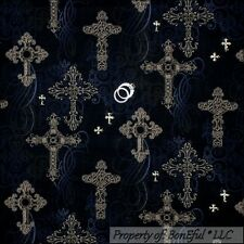 BonEful Fabric Cotton Quilt Black Gray Gold Glitter CROSS Scroll Goth*ic L SCRAP