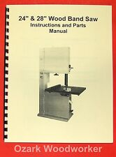 """JET/Asian WBS-24 WBS-28 24"""" & 28"""" Band Saws Operator's & Parts Manual 0393"""