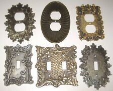 Lot of 6 Vintage Brass Silver Gold Electric Wall Switch Outlet Plate Covers