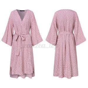 Ladies Kimono Polka Dots Belted Bath Robe Summer Beach Spa Dressing Gown UK 8-26