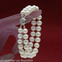 "Genuine 2 Rows 7-8mm White Akoya Cultured pearl Bracelet Bangle 7.5"" AAA"