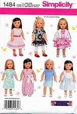 "SIMPLICITY SEWING PATTERN 1484 18"" DOLL CLOTHES - DRESSES, TOP, SKIRT, LEGGINGS"