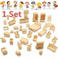 34 PCS Kinder Puppenhaus Holz Möbel Miniatur Puppenmöbel Puppenstube Zubehör