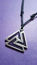 VALKNUT PENDANT & FUTHARK RUNES Necklace Purple Asatru Larp Norse Jewellery   f4