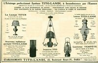 Publicité ancienne éclairage lampe Titi-Landi issue de magazine 1924