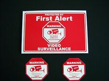 1 First Alert Security Sign + 2 Decals - .#Ps-418