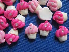 40 Cupcake Resin Flatback Button/bead Rhinestone-Pink/Hot Pink B007