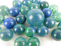 25 Glass Marbles EARTH Green/Blue Speckled game pack Shooter