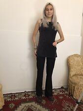 pantalone da donna elegante con cintura zampina elasticizzato tg 42 vita alta