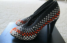 NWT Alexander Wang Carla black orange grey woven pump shoe, 9.5